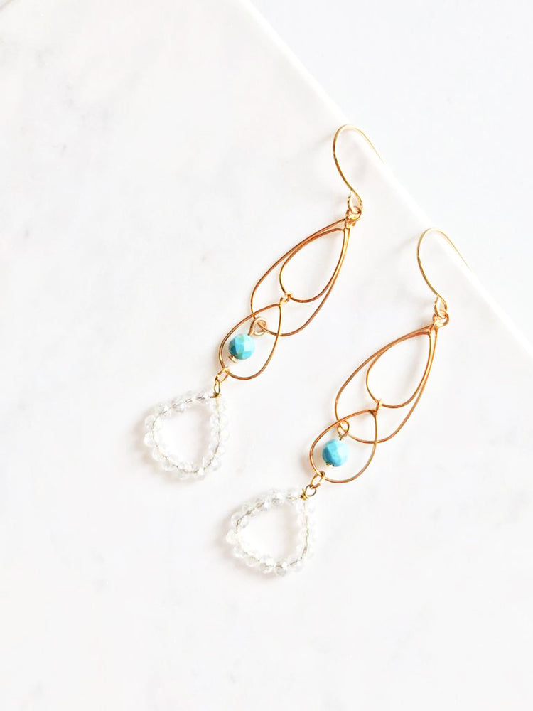 Mini Crystals and Gold Droplets Earrings