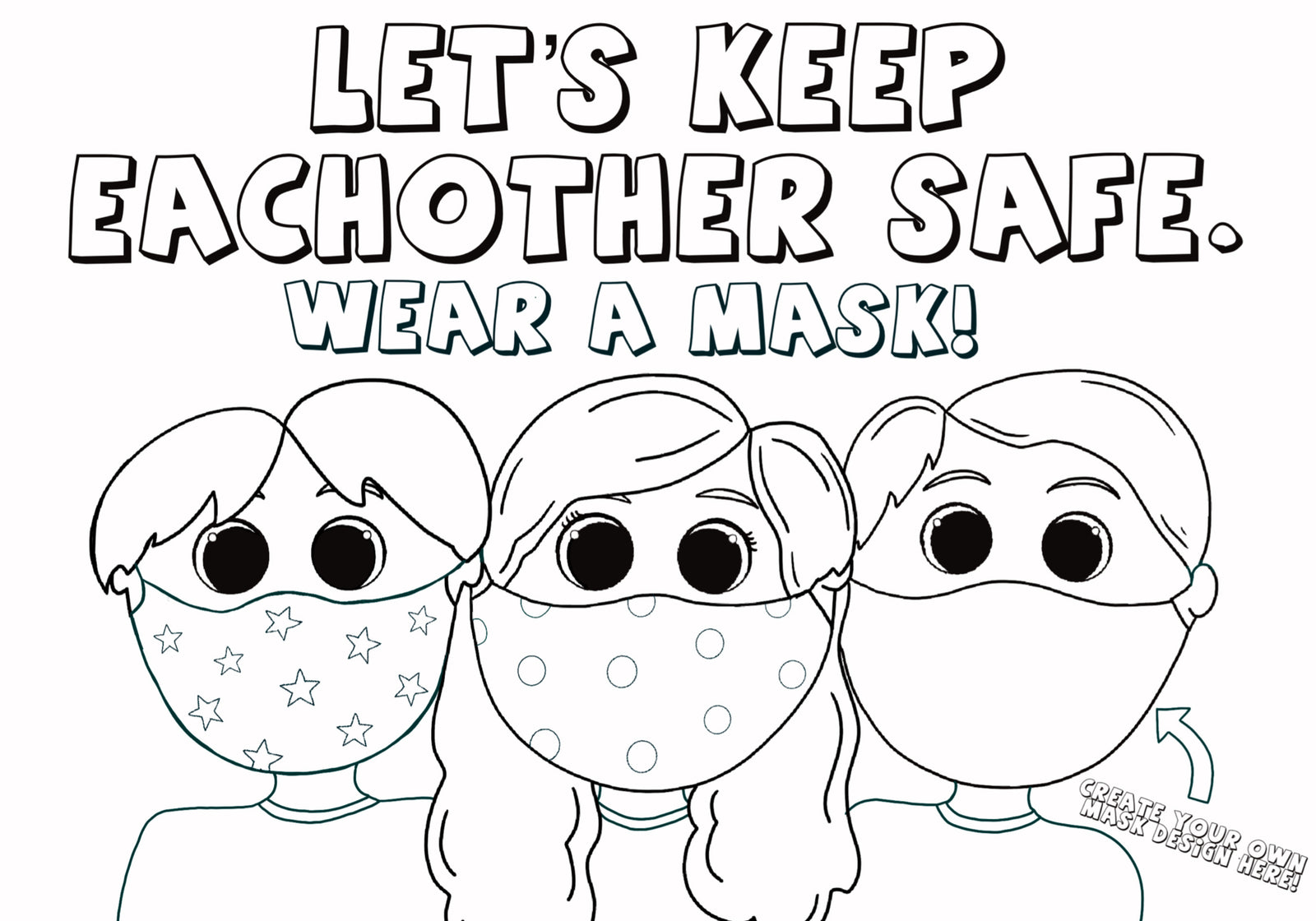 Kids Wearing Face Masks Coloring Page Love Woolies