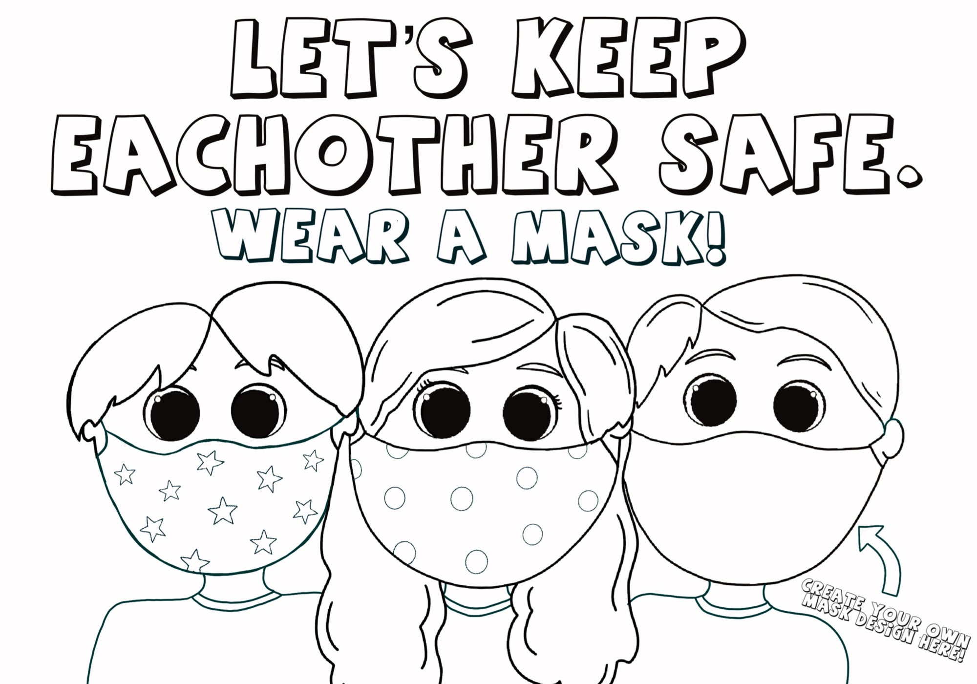 Kids Wearing Face Masks Coloring Page!
