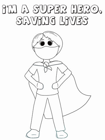 Boy SuperHero with Face Mask Coloring Page