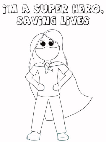 Girl SuperHero with Face Mask Coloring Page