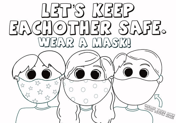 Love Woolies Kids Wearing Face Masks Coloring Page