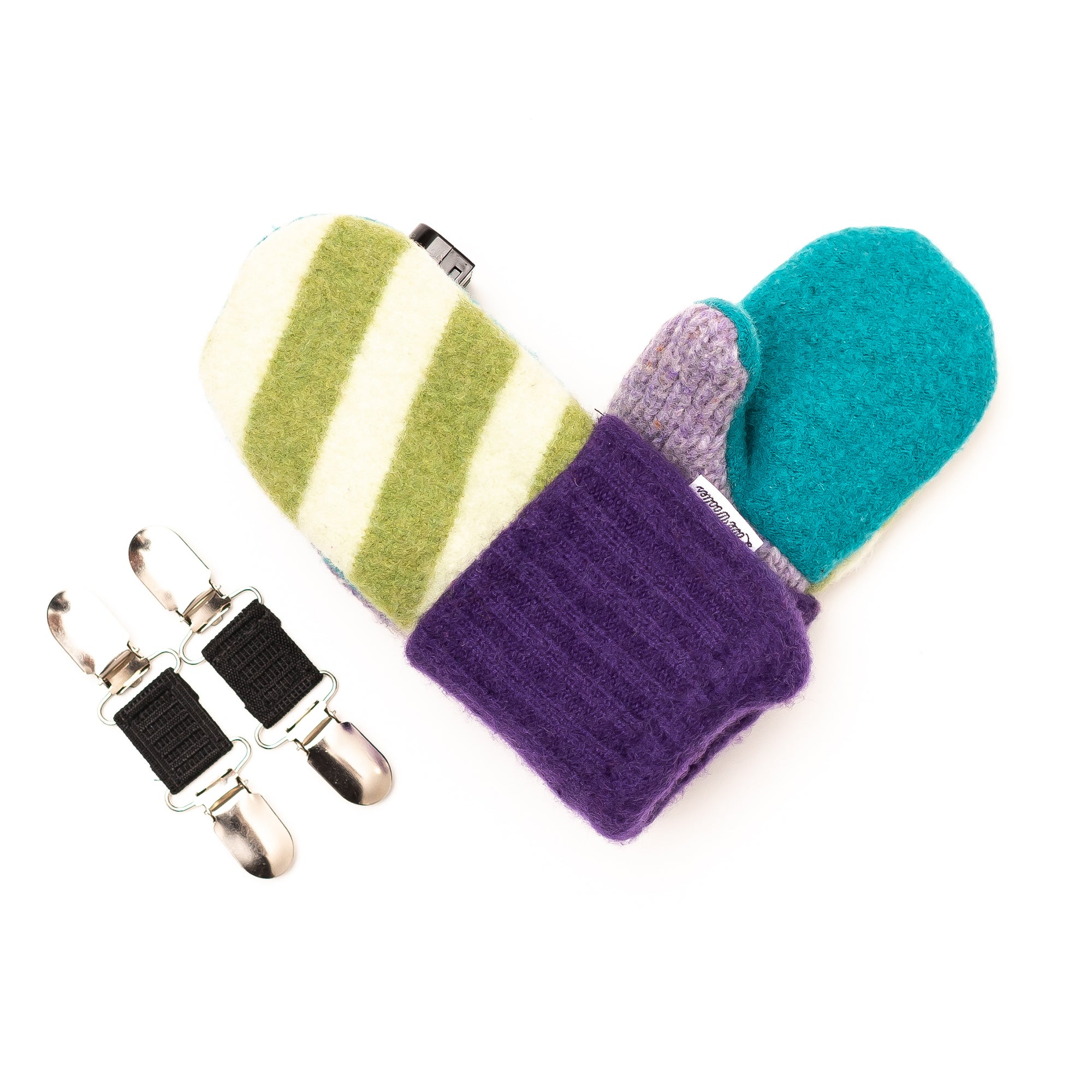 Small Kid's Wool Sweater Mittens | Grape Lime