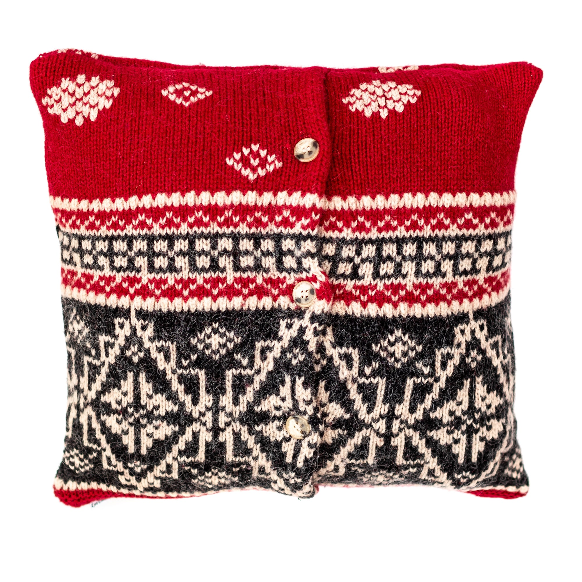 16x16 Winter Red Wool Pillow cover
