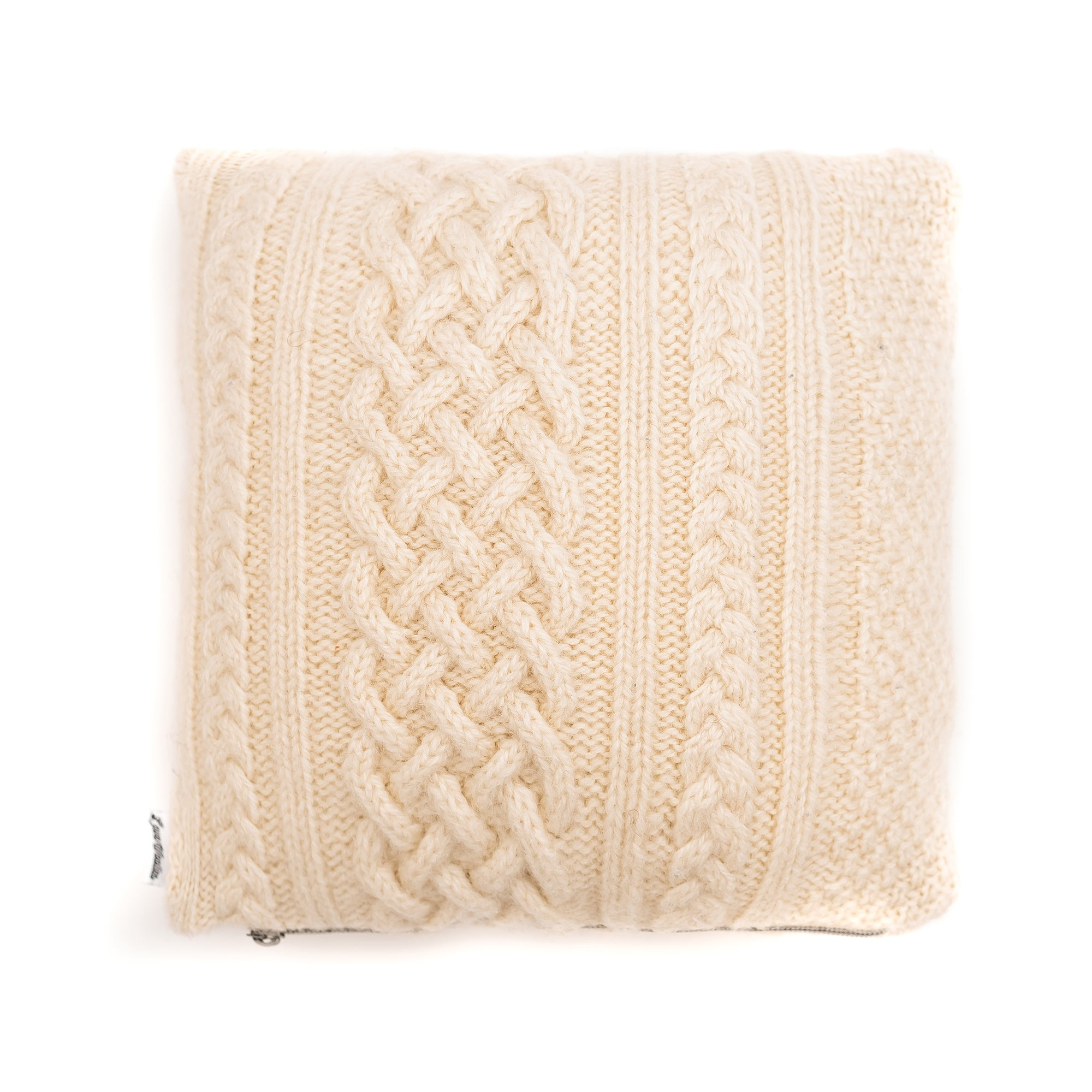 12x12 Cream Cable Knit Wool Pillow Cover
