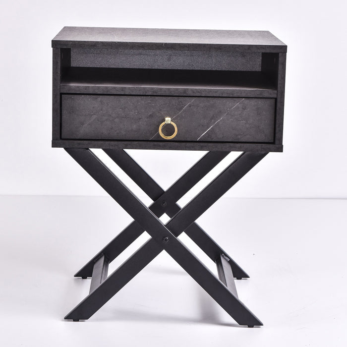 Freya Bedside Table, Grey Stone