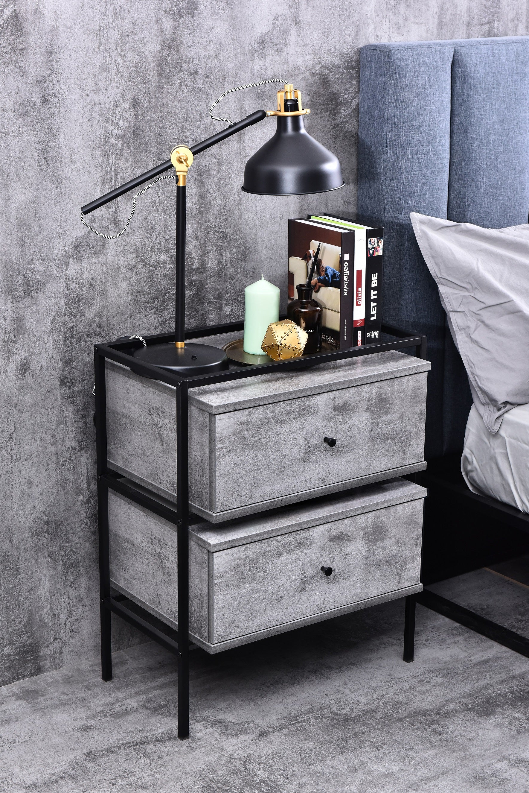 Tammy bedside table, iron slate