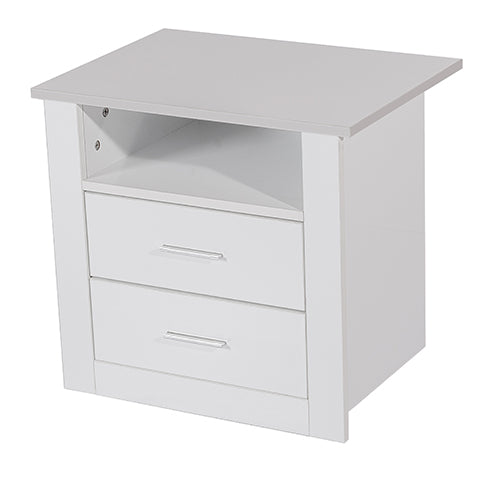 Bondi 2 drawer bedside table, white