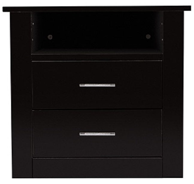 Bondi 2 drawer bedside table, black