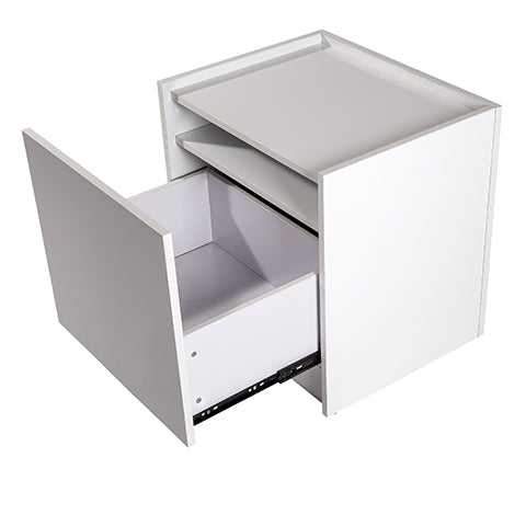 Elva 1 drawer bedside table, high gloss white