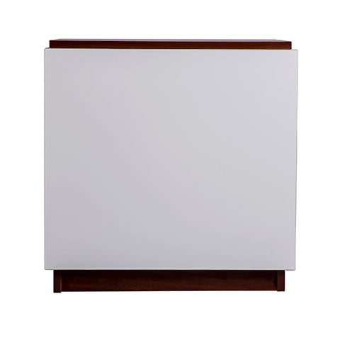 Scarlett 1 drawer bedside table, high gloss white with walnut top