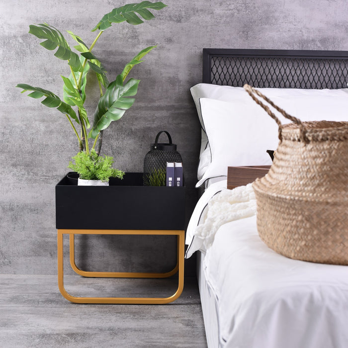 Gloin bedside table, Black / Gold base