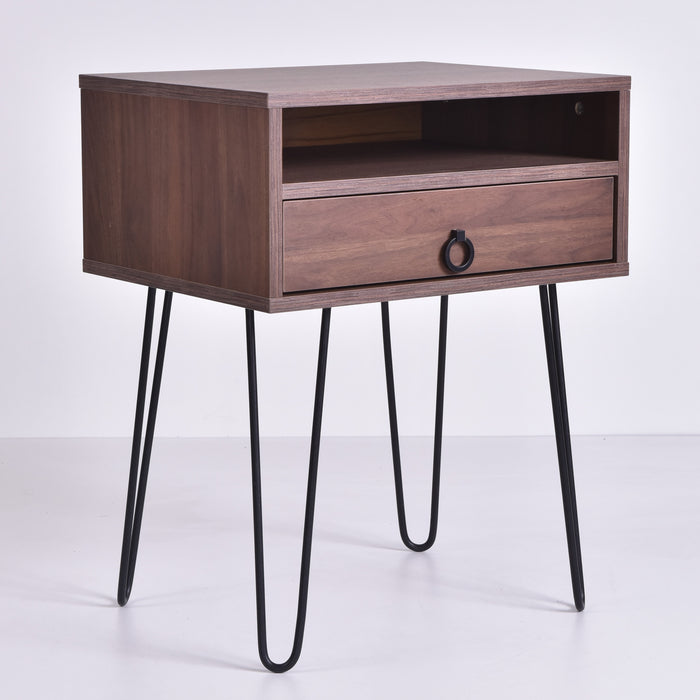 Edea Bedside Table, Columbia Walnut
