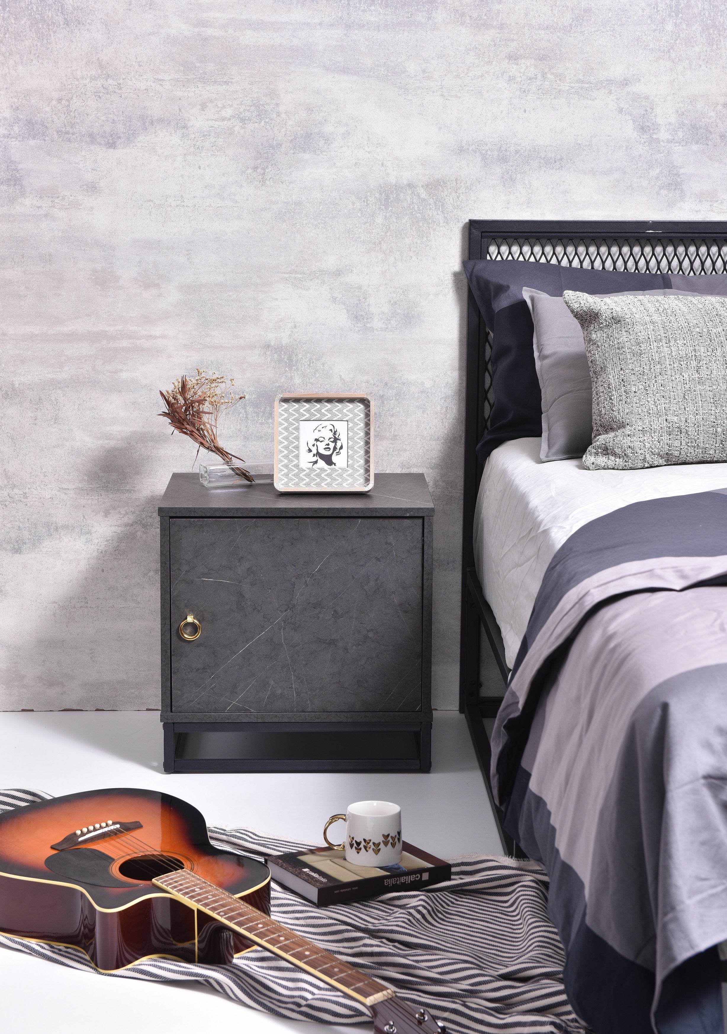 Navara Bedside Table, Grey Stone