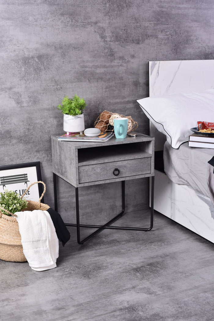Fredo Bedside Table, Iron Slate