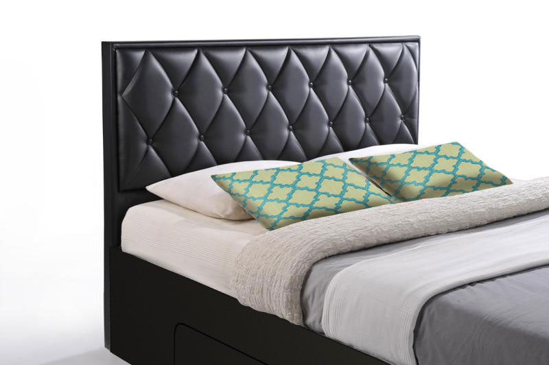 Pointy 4 drawers storage platform Bed, black