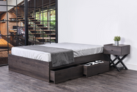 Bozz 4 drawers premium storage platform Bed, antico wenge