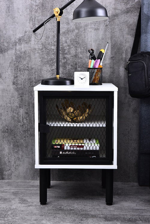 Avice Bedside Table, White body/Black base