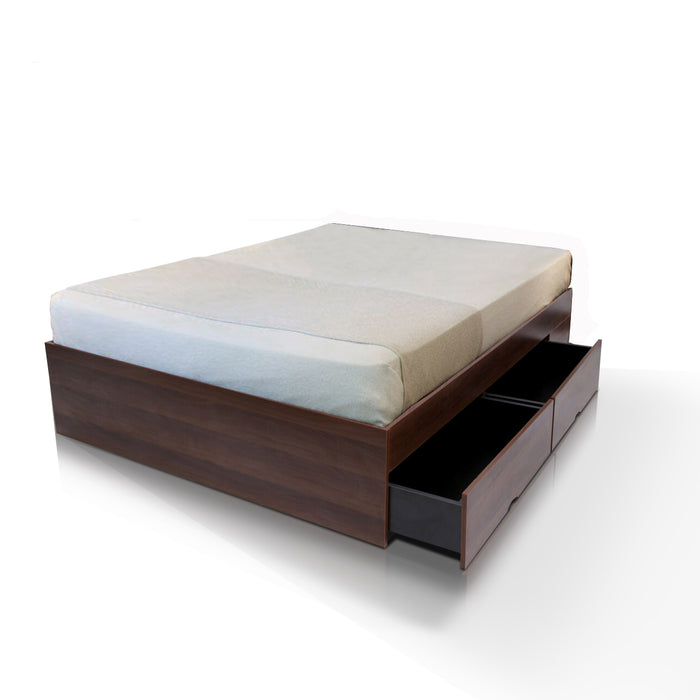 Bozz 4 drawers storage platform bed, walnut