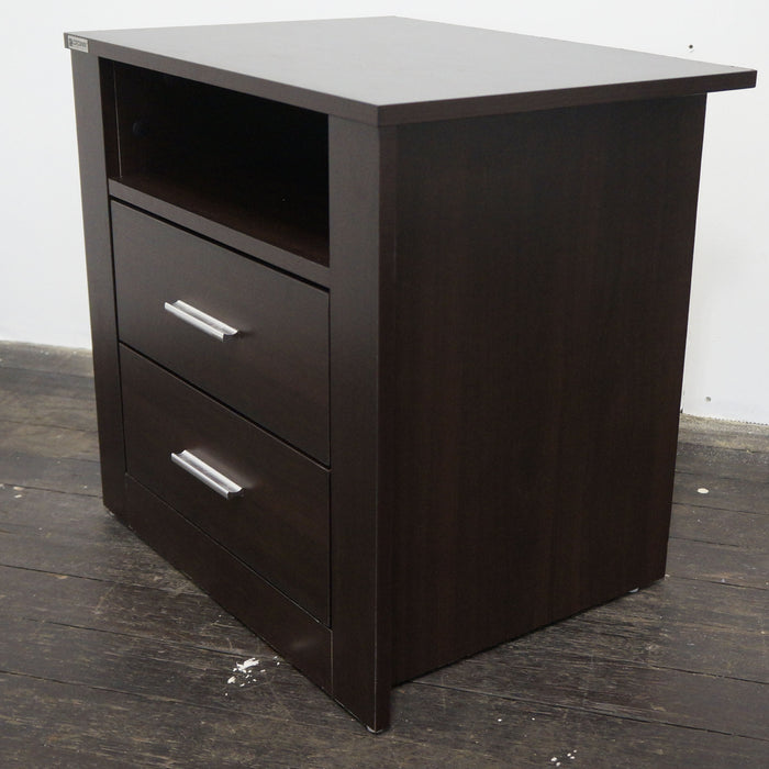 Bondi 2 drawer bedside table, walnut