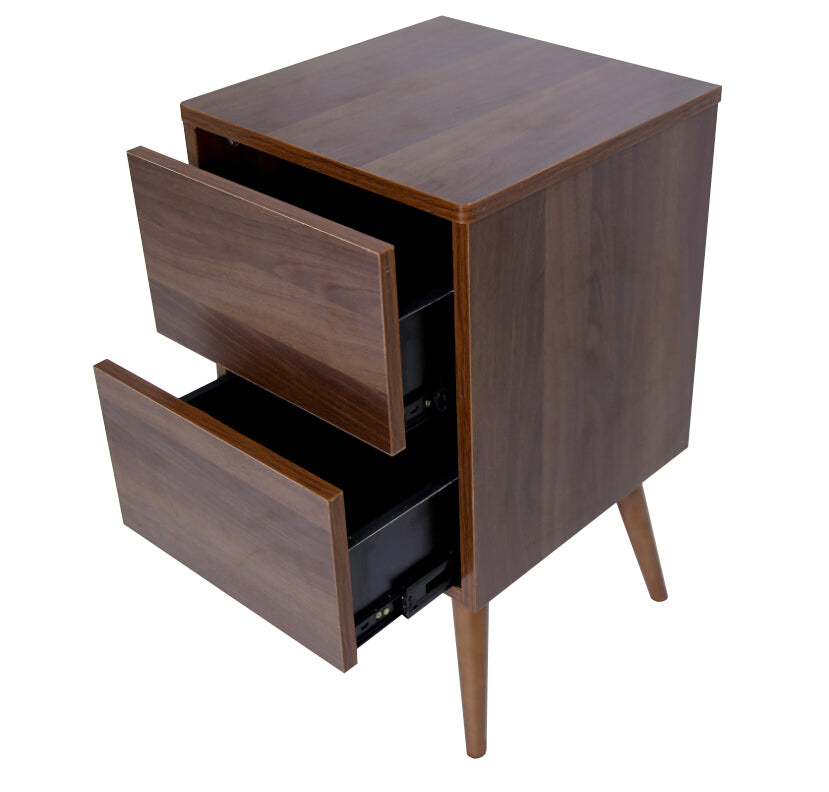Retro bedside table with 2 drawers, walnut