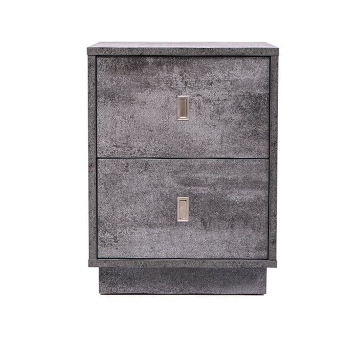 Emma 2 drawer bedside table, iron slate