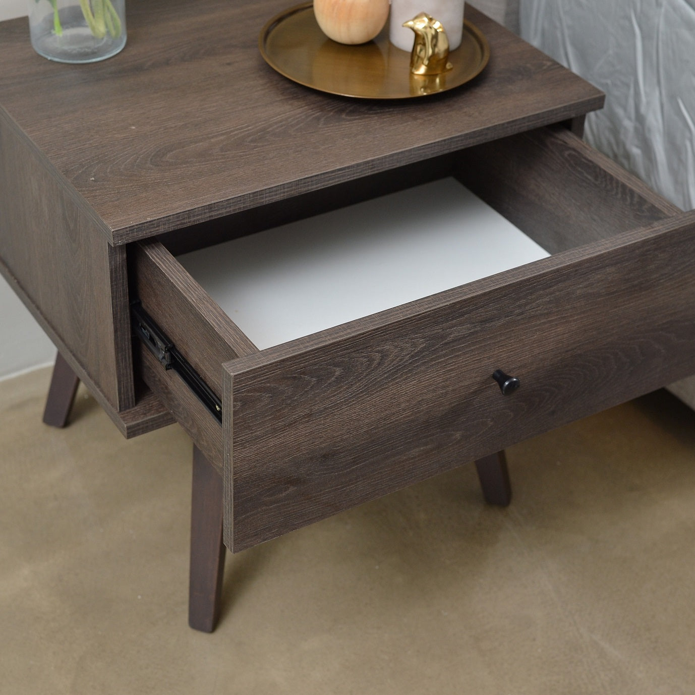 Miranda bedside table, antico wenge
