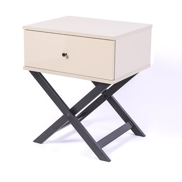 Minya bedside table, high gloss khaki