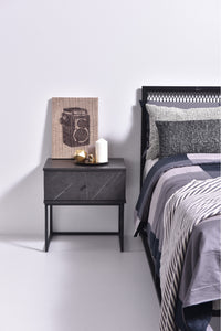 Morena bedside table, grey stone