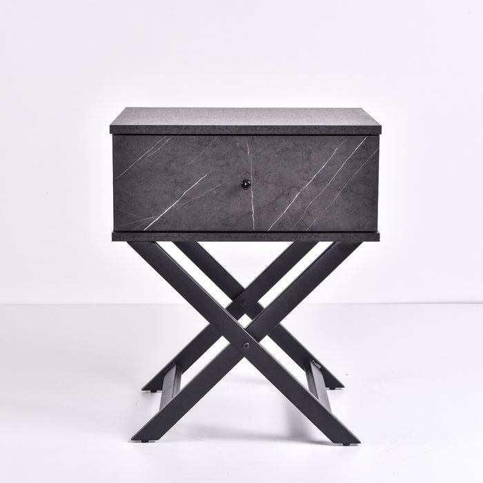 Minya bedside table, grey stone