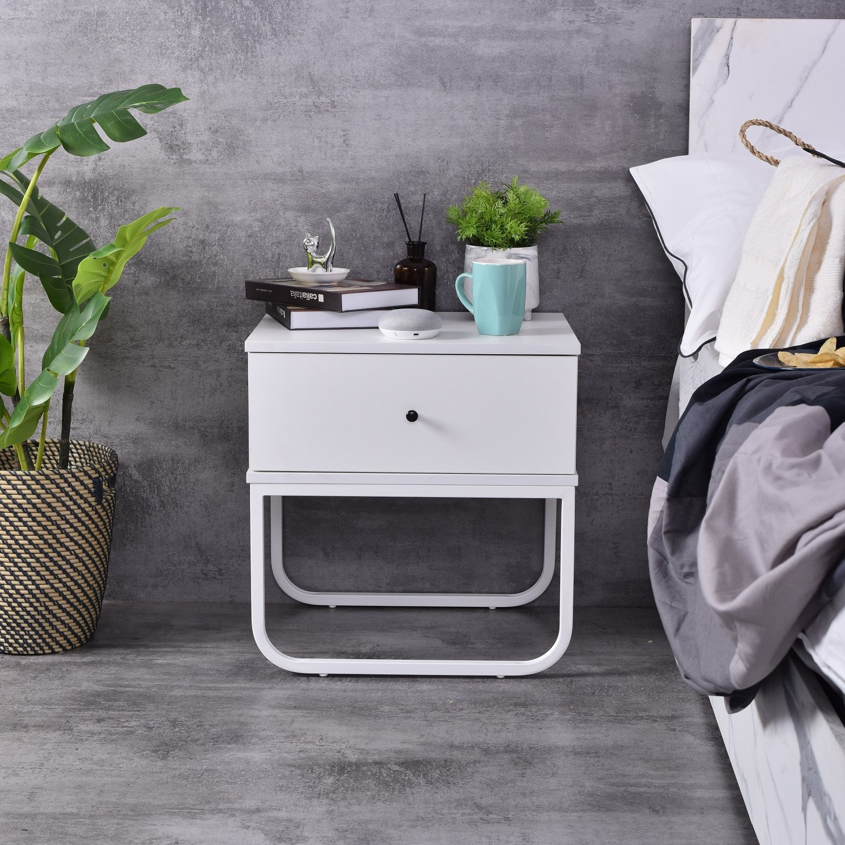Mitra Bedside Table, White / white base