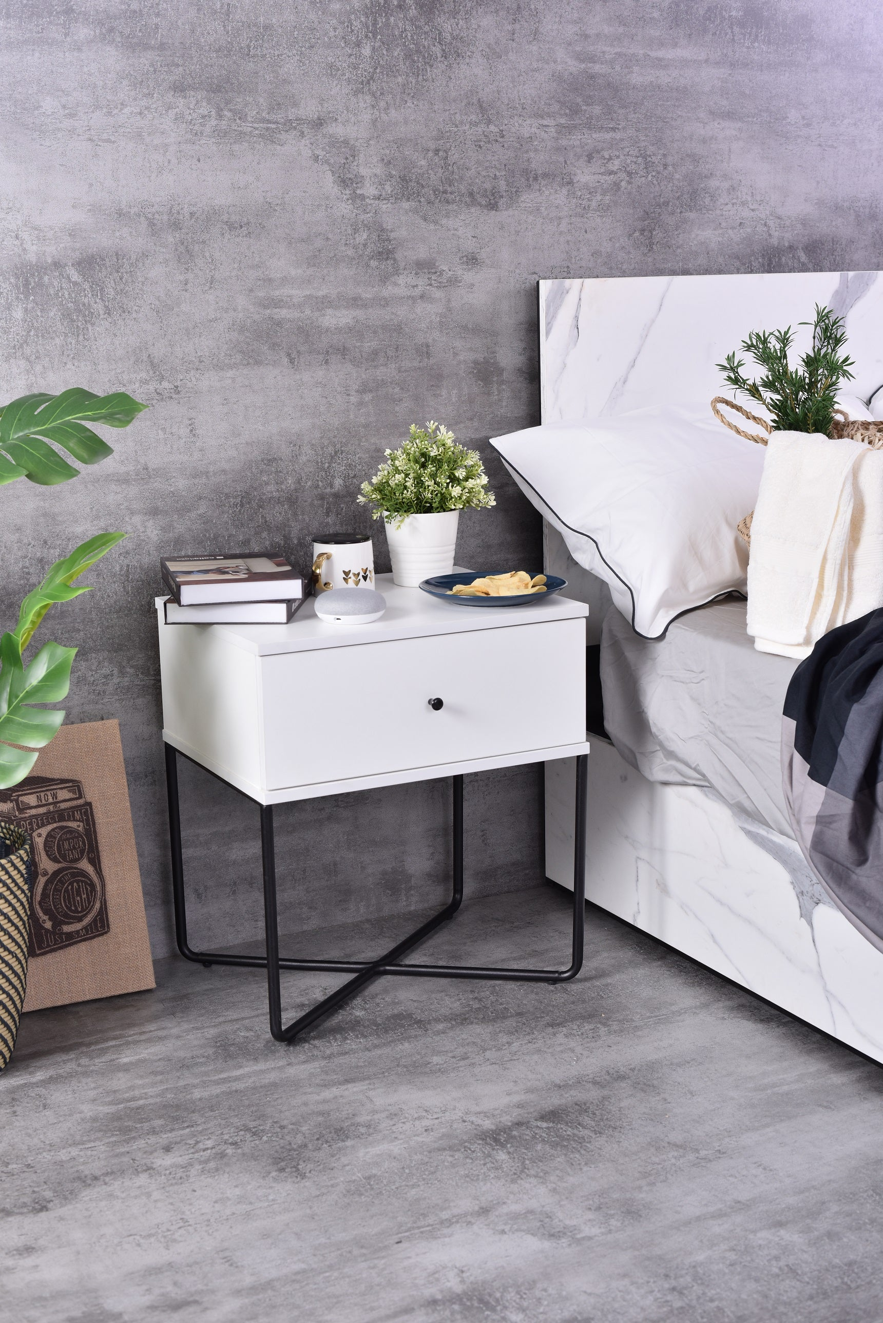 Marcus Bedside Table, White