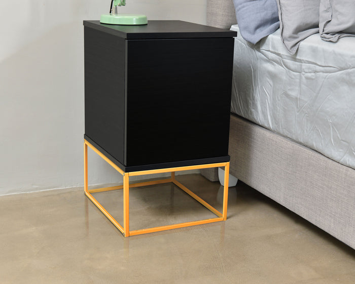 Layla bedside table with drawer, black (gold metal frame)