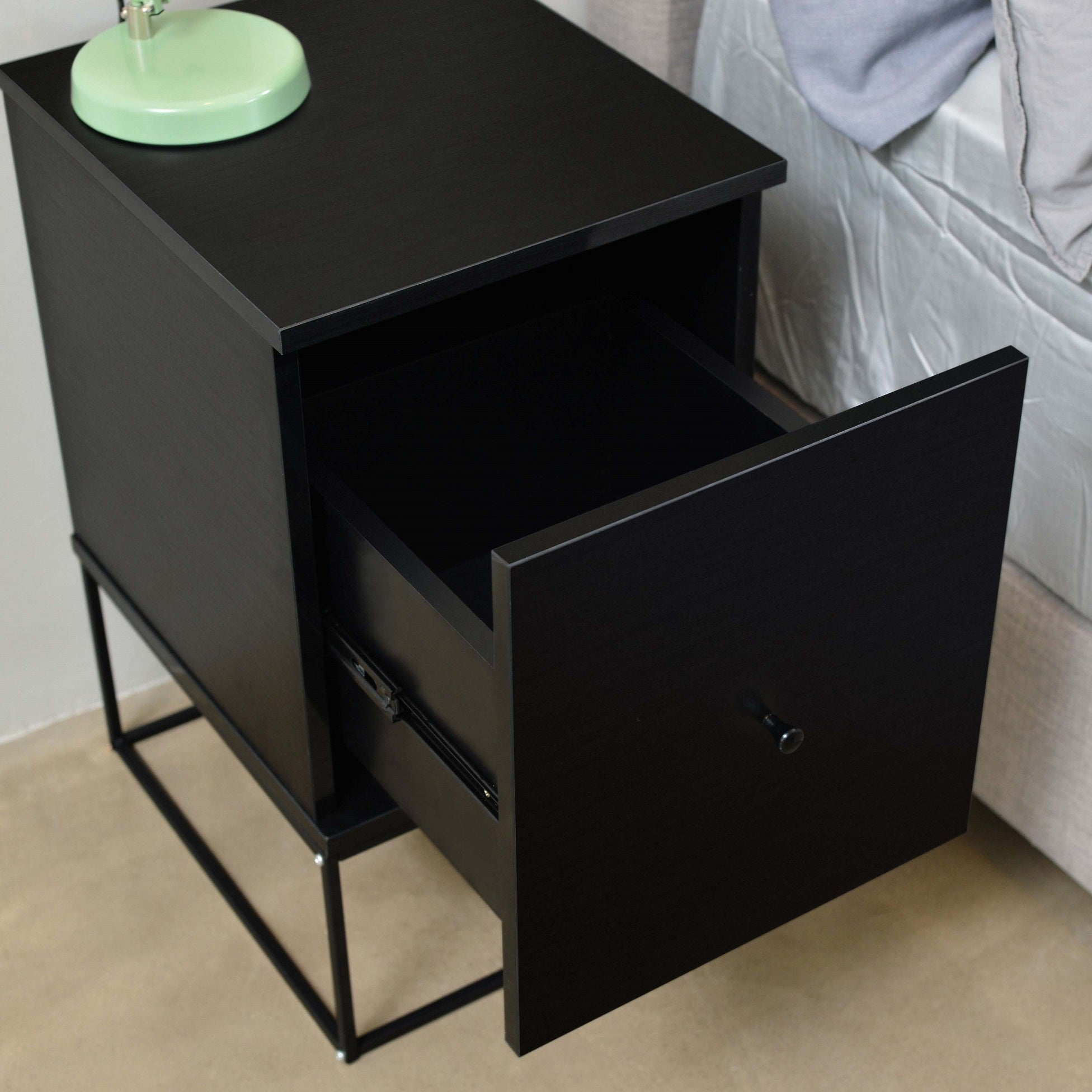 Zola Bedside Table With Drawer Timber Or Metal Frame Black