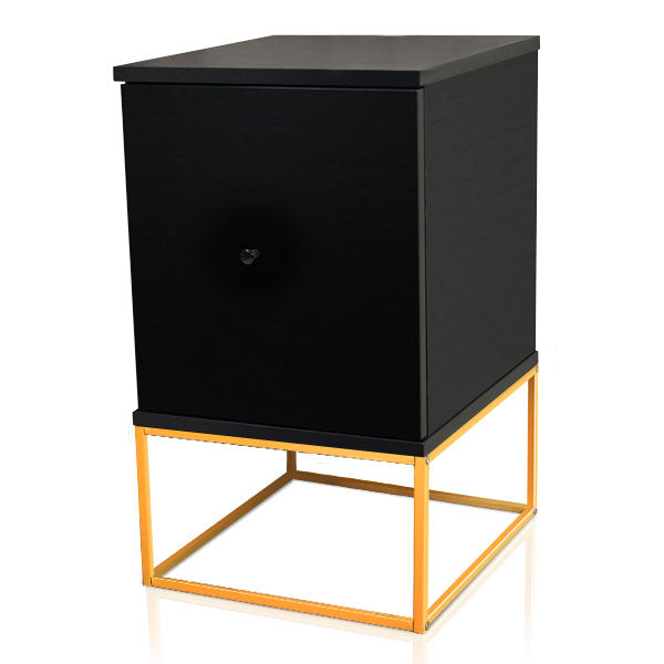 Zola bedside table with drawer, black (gold metal frame)