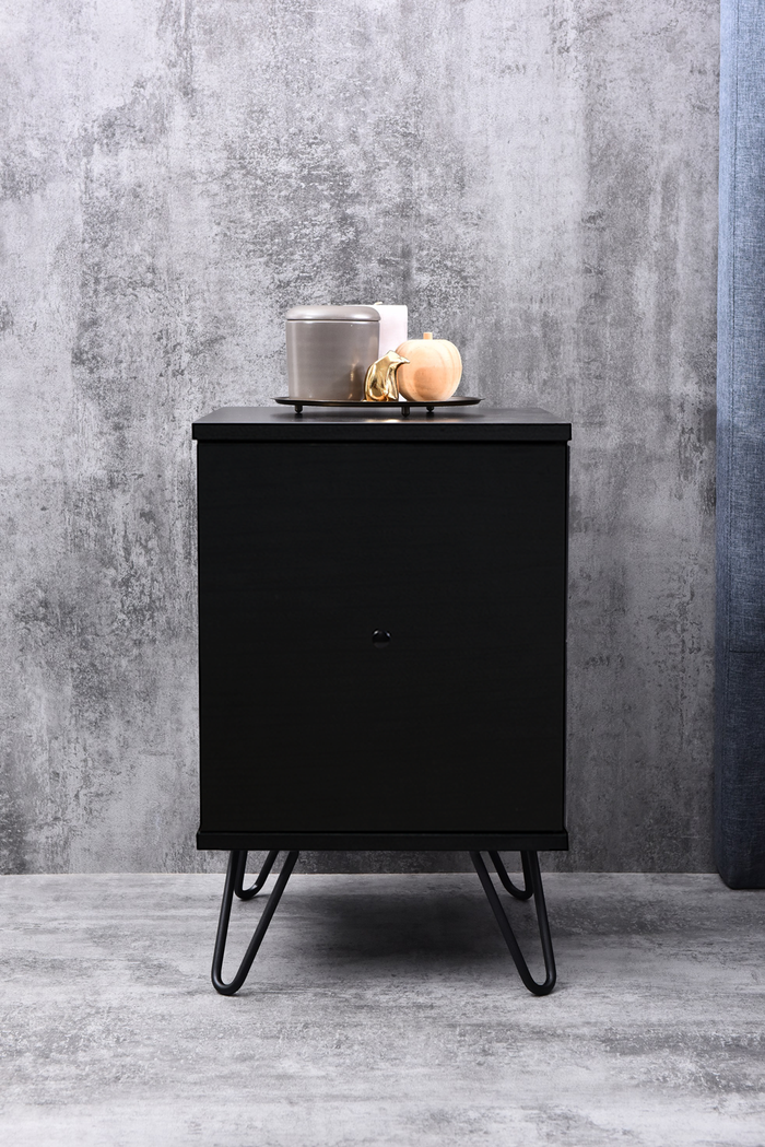 Marion bedside table with drawer, black