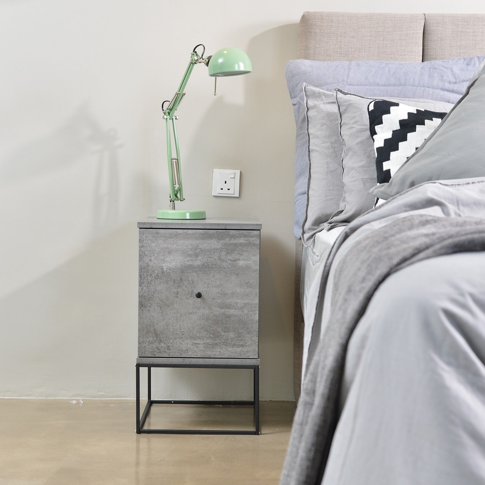 Zola bedside table with drawer (timber or metal frame), iron slate