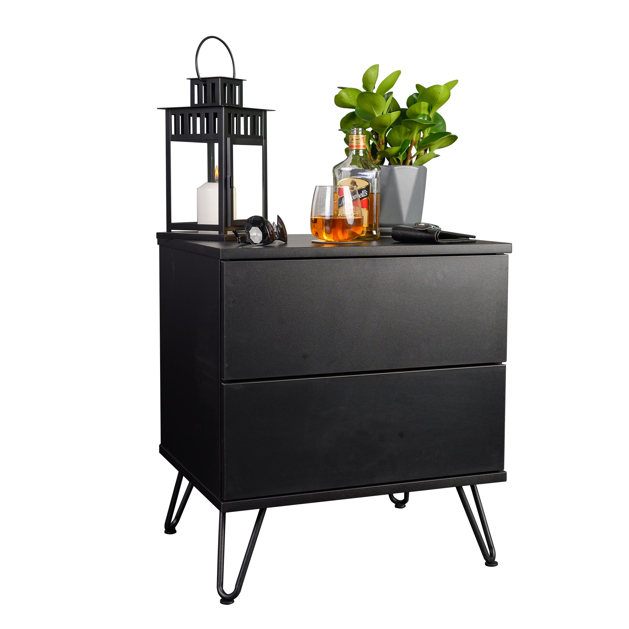 Corva bedside table, black