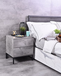 Kensei bedside table, Iron slate