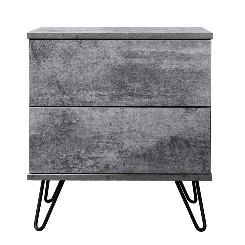 Corva bedside table, iron slate