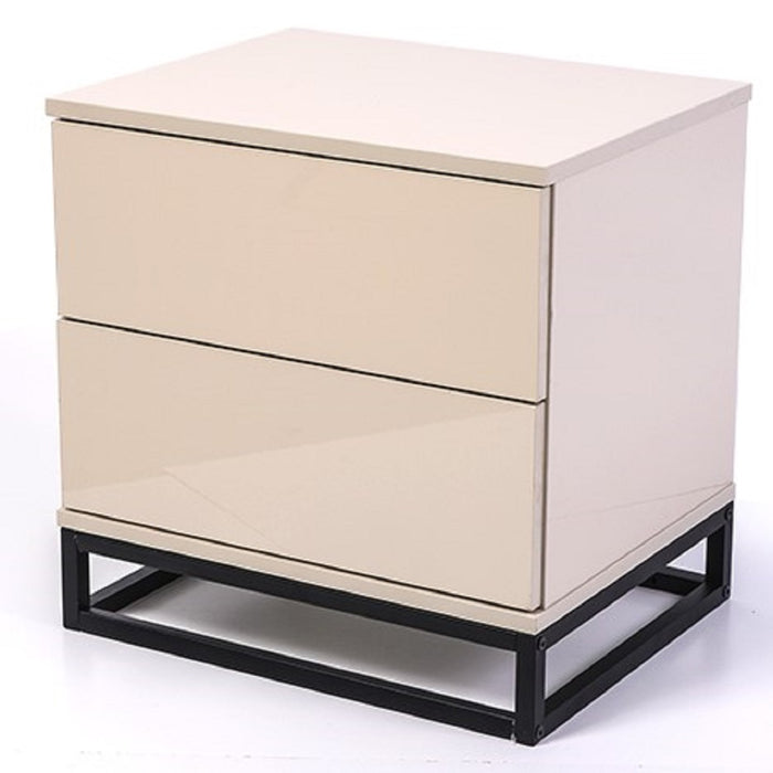 Margo bedside table, high gloss khaki