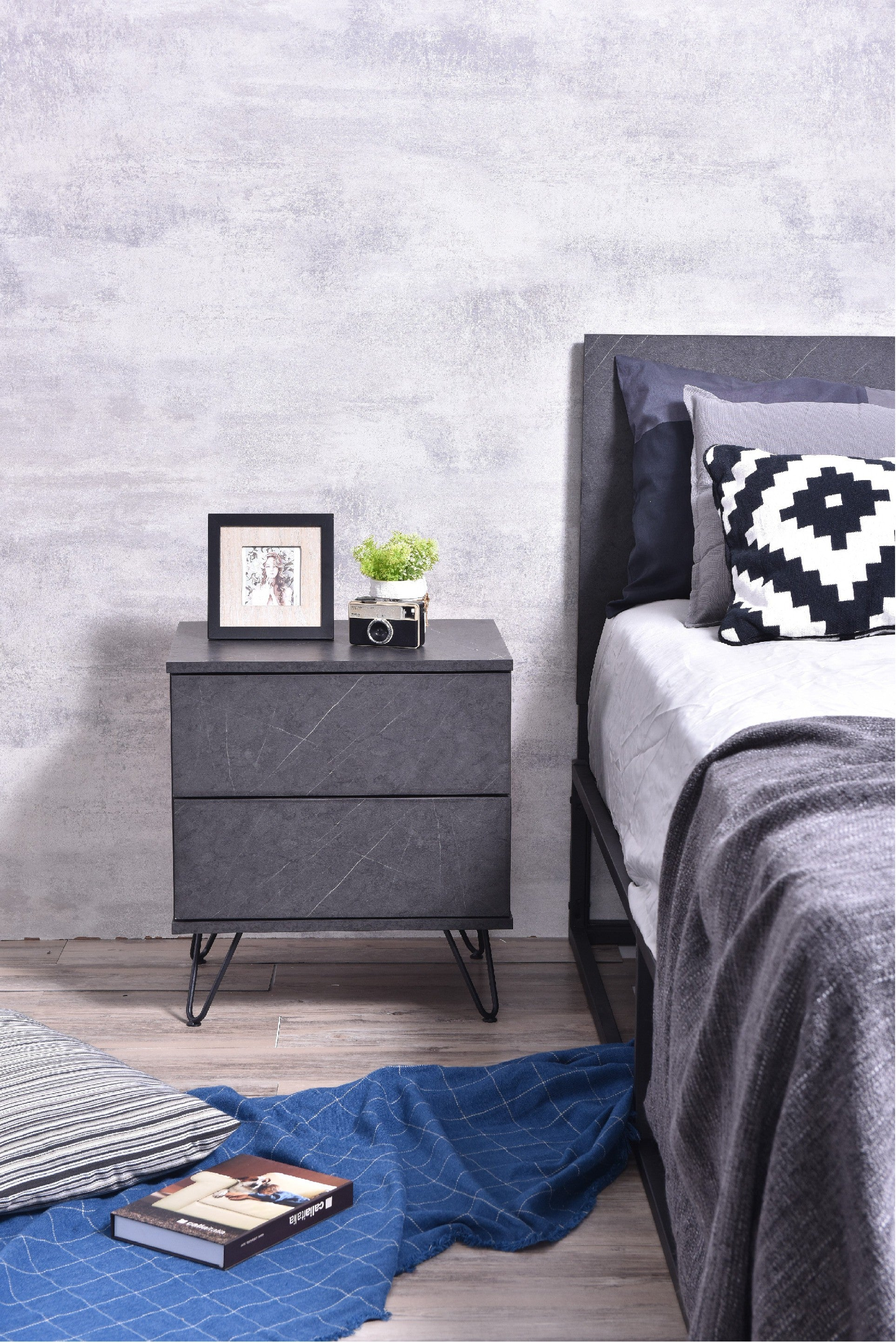 Corva bedside table, grey stone