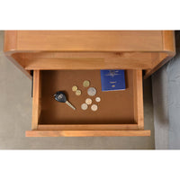Rhoda acacia wood bedside table with drawer & castors
