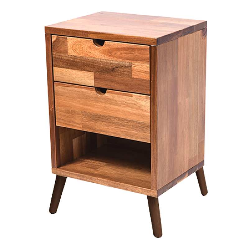 Domo Acacia Wood Bedside Table With 2 Drawers In Natural ...