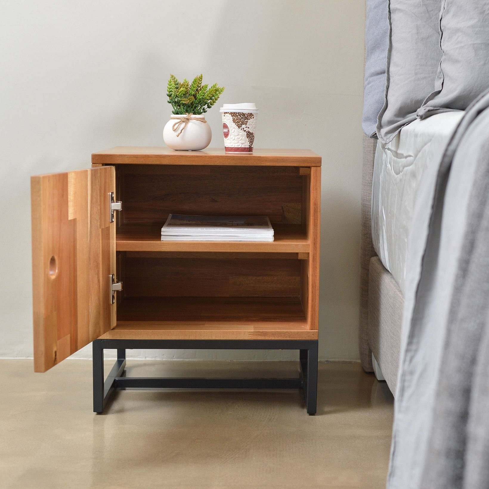 Casa acacia wood bedside table with metal frame in natural