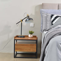 Lovie acaia wood bedside table with metal frame in natural