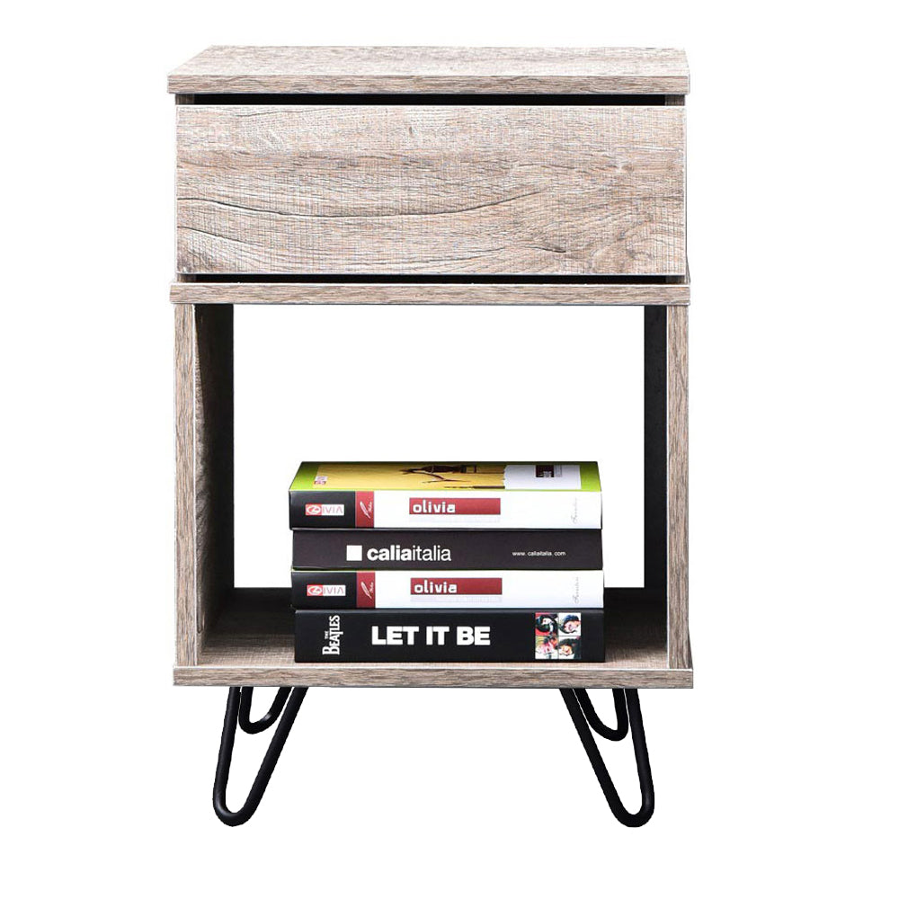 Karia industrial bedside table with pinhead stands, alaska oak
