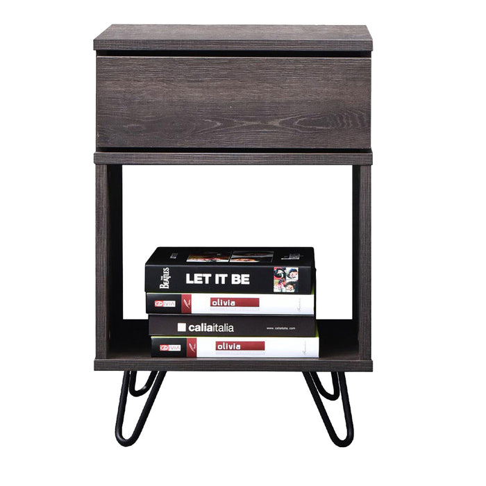 Karia industrial bedside table with pinhead stands, antico wenge