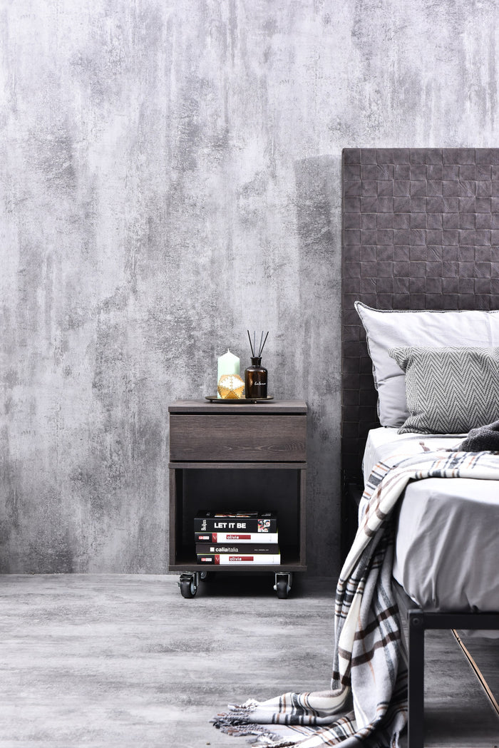 Daria industrial bedside table with 4 castors, antico wenge