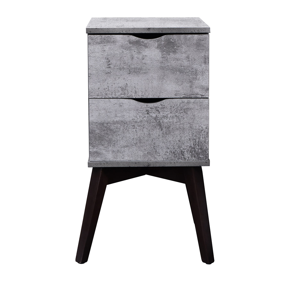 Hubie bedside table with drawers, iron slate